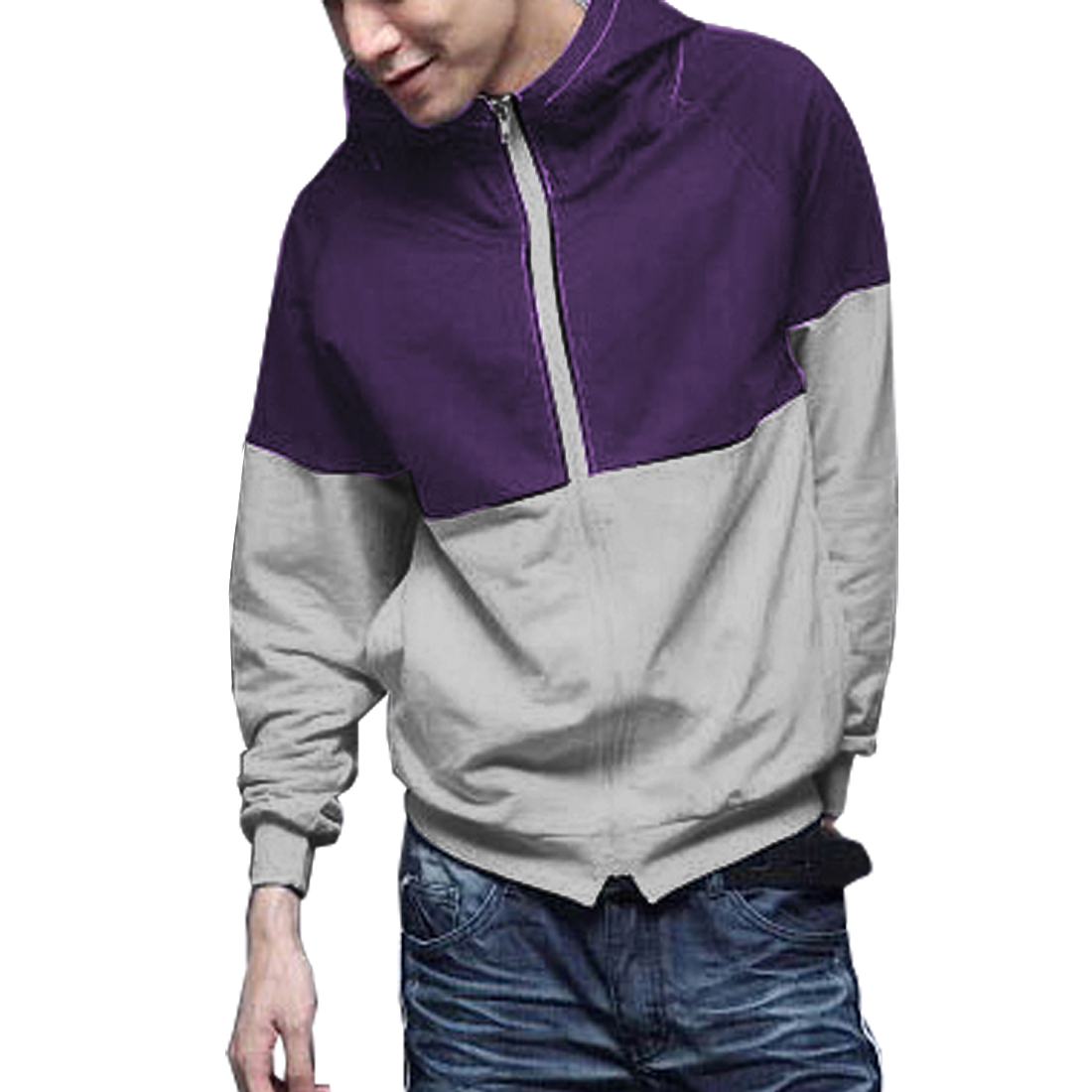 Mens Fashion Mock Neck Purple Light Gray Autumn Hoodie Coat L