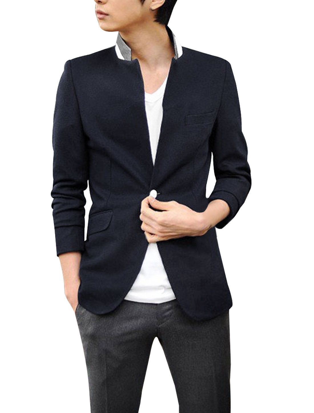 Mens Dark Blue Stylish Long Sleeve Single Button Closure Flap Pockets Blazer M