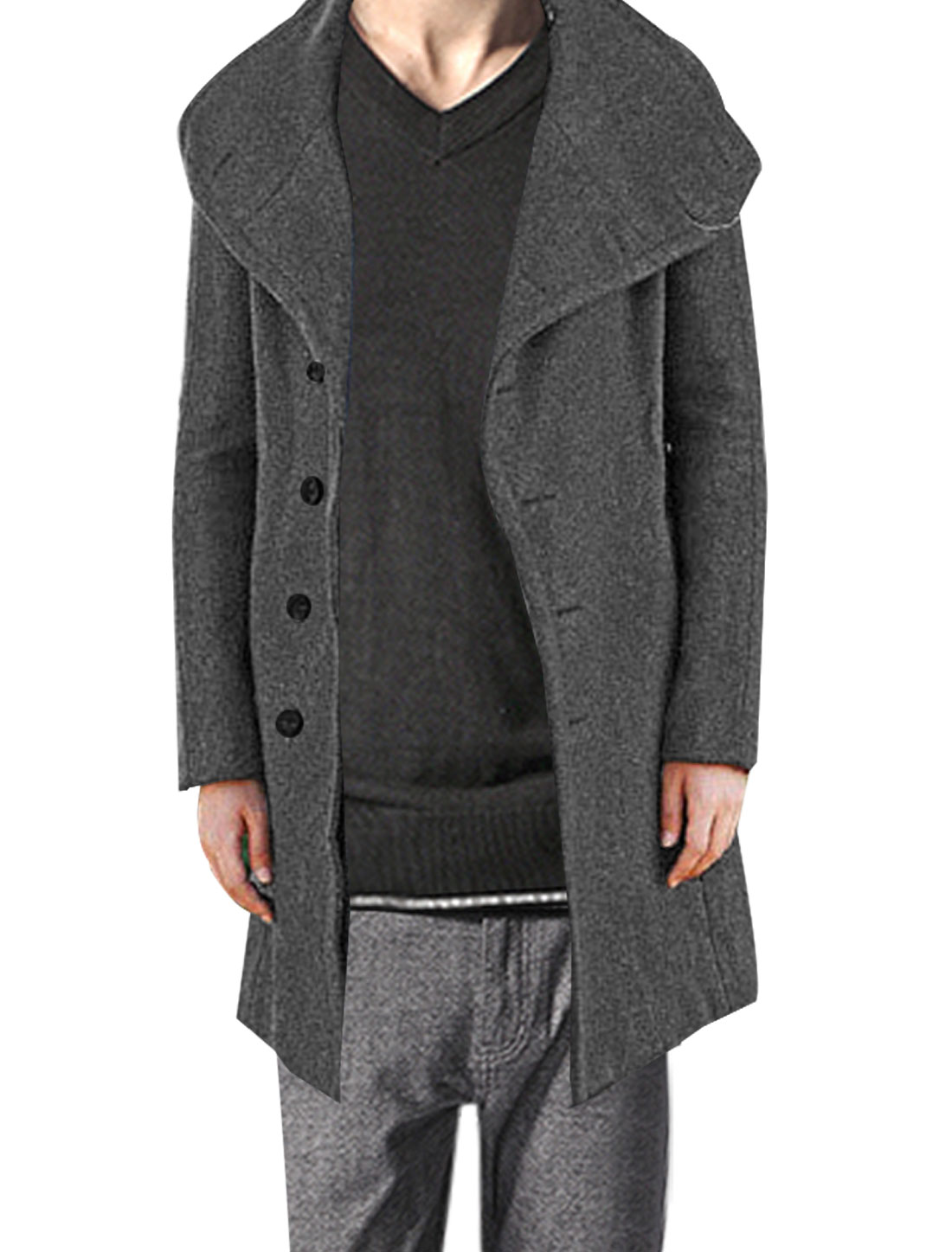 Mens Dark Gray Funnel Neck Long Sleeve Korea Stylish Tweed Overcoat M