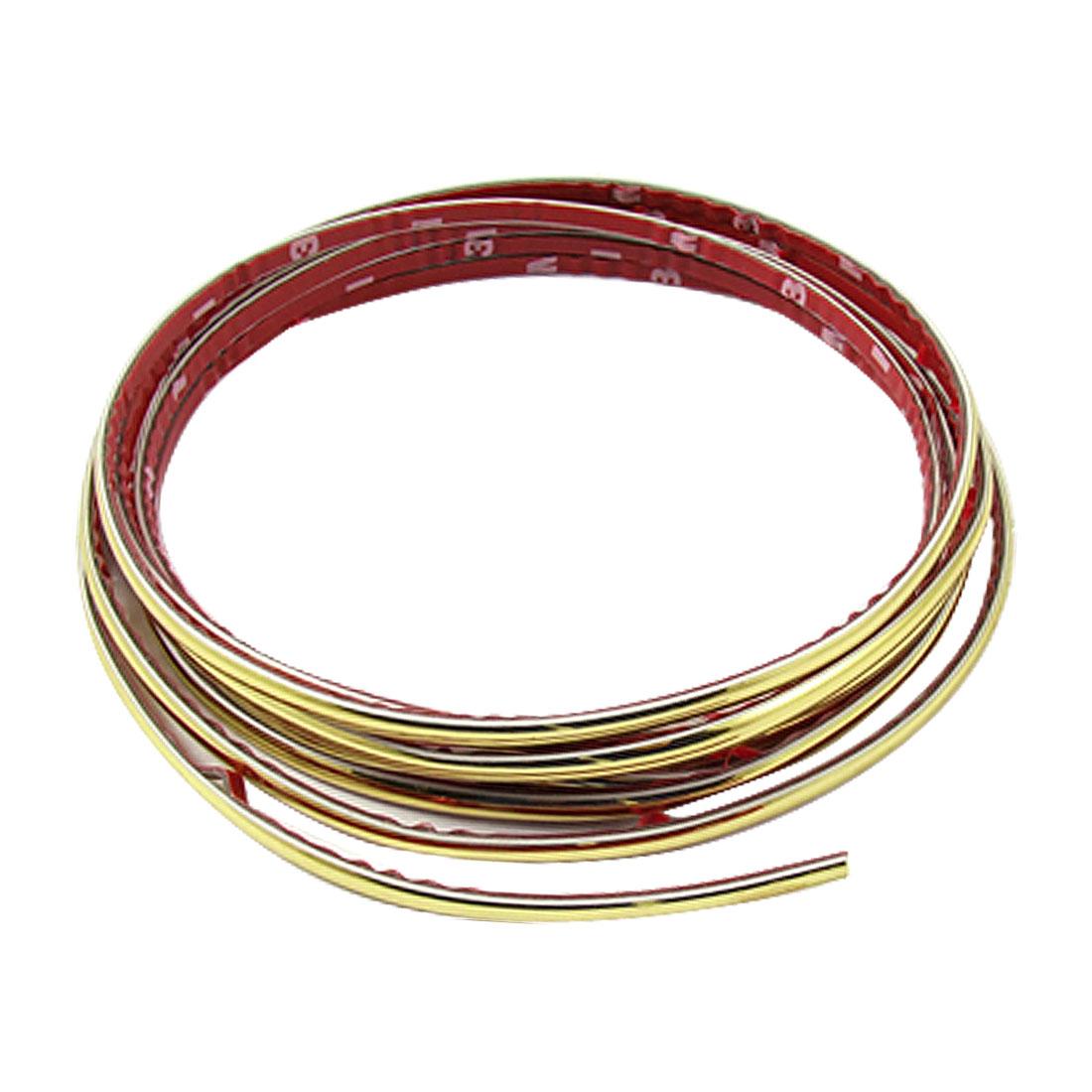 4mm Width 5M Length Soft Plastic Auto Car Moulding Trim Strip Gold Tone