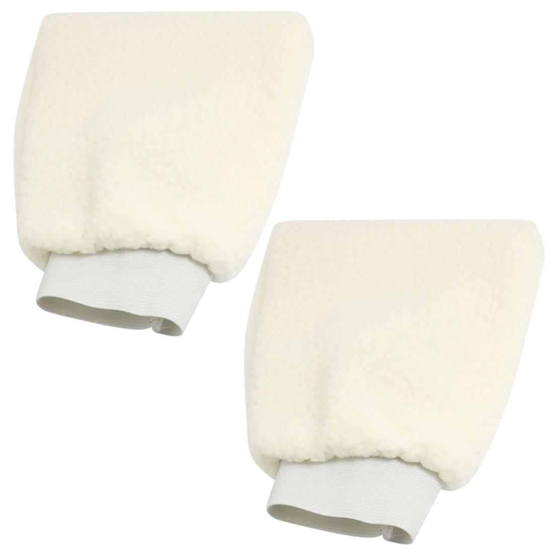 Off White Plush Car Auto Washing Cleaning Mitt Gloves Pair