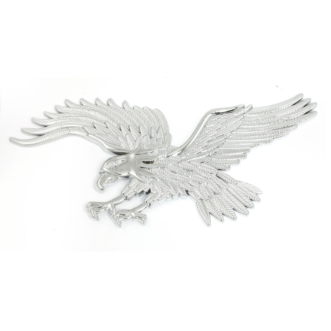 Silver Tone Plastic Eagle Pattern Auto Car Badge Sticker Emblem Decor