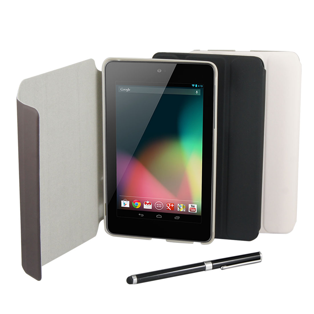 Brown Faux Leather Skin Cover Case + Stylus Pen for Google Nexus 7 Tablet