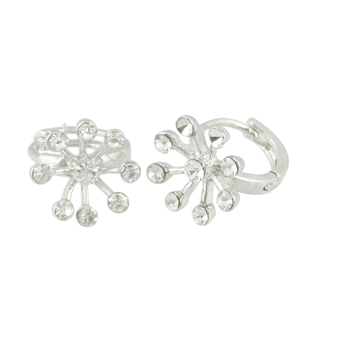 Woman Metallic Silver Tone Floral Rhinestones Mini Hoop Earrings Eardrop