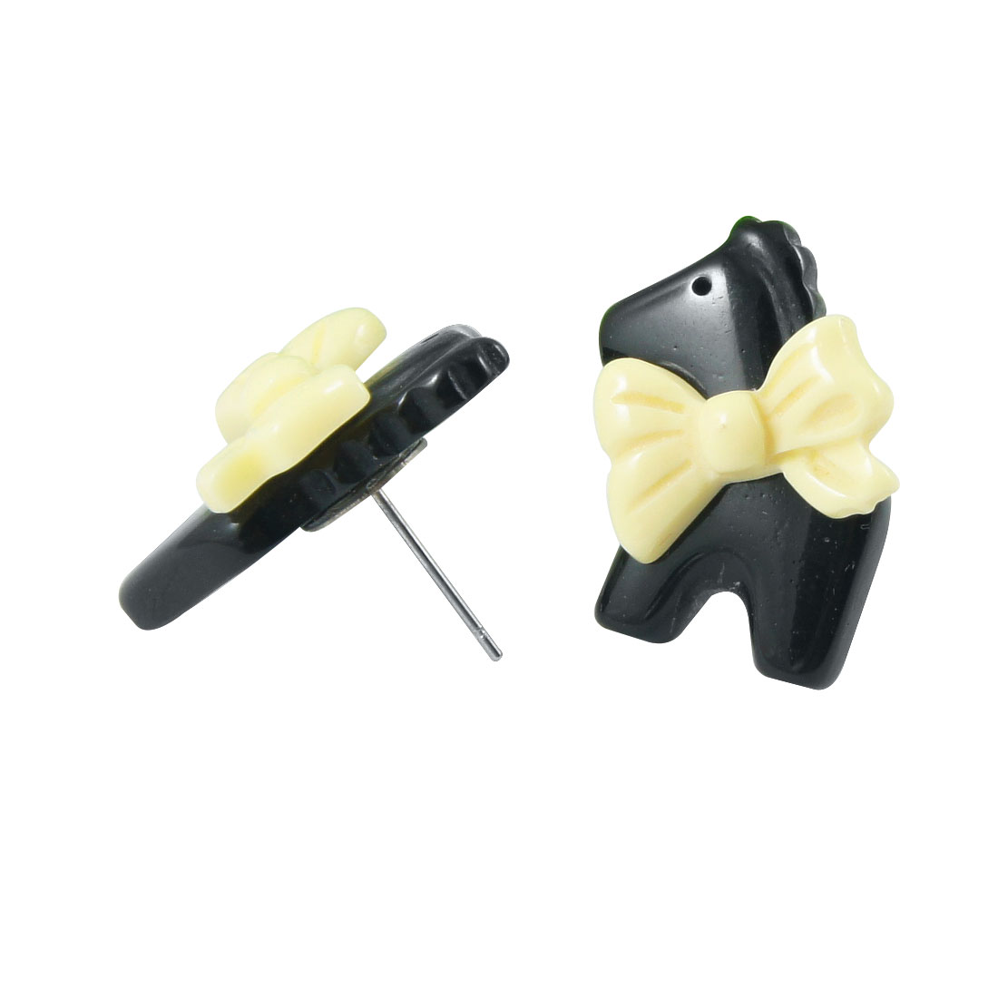Lady Pair Black Yellow Plastic Horse Butterfly Knot Stud Earrings