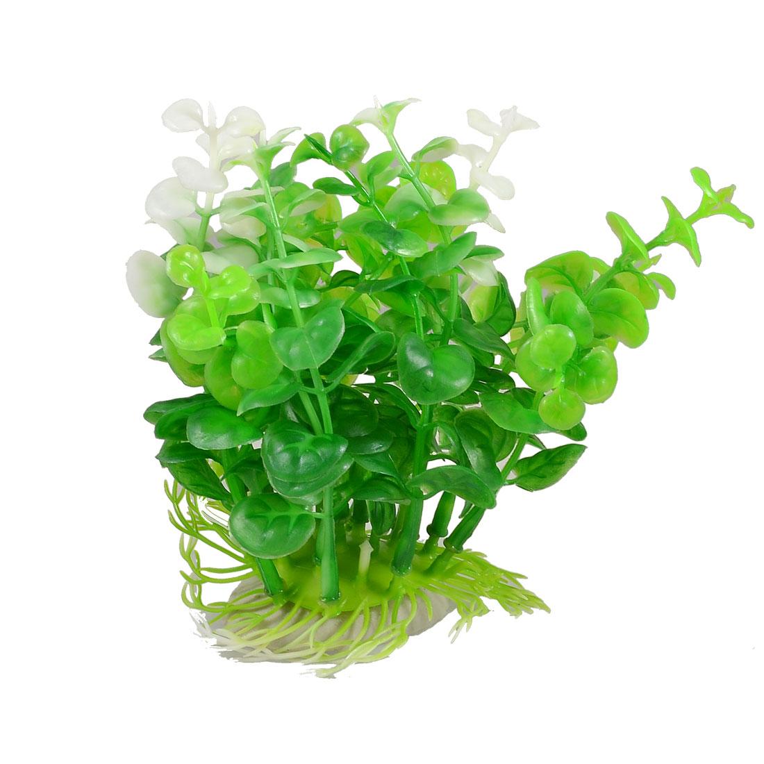 """Ceramic Base Aquarium Plastic Plant Ornament Decoration Green White 4.5"""""""