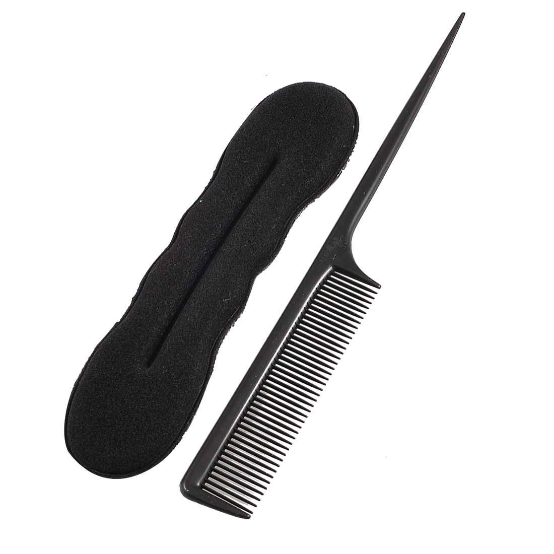 Sponge Hair Clip Styling Bun Maker Former Plastic Fine Teeth Comb Black