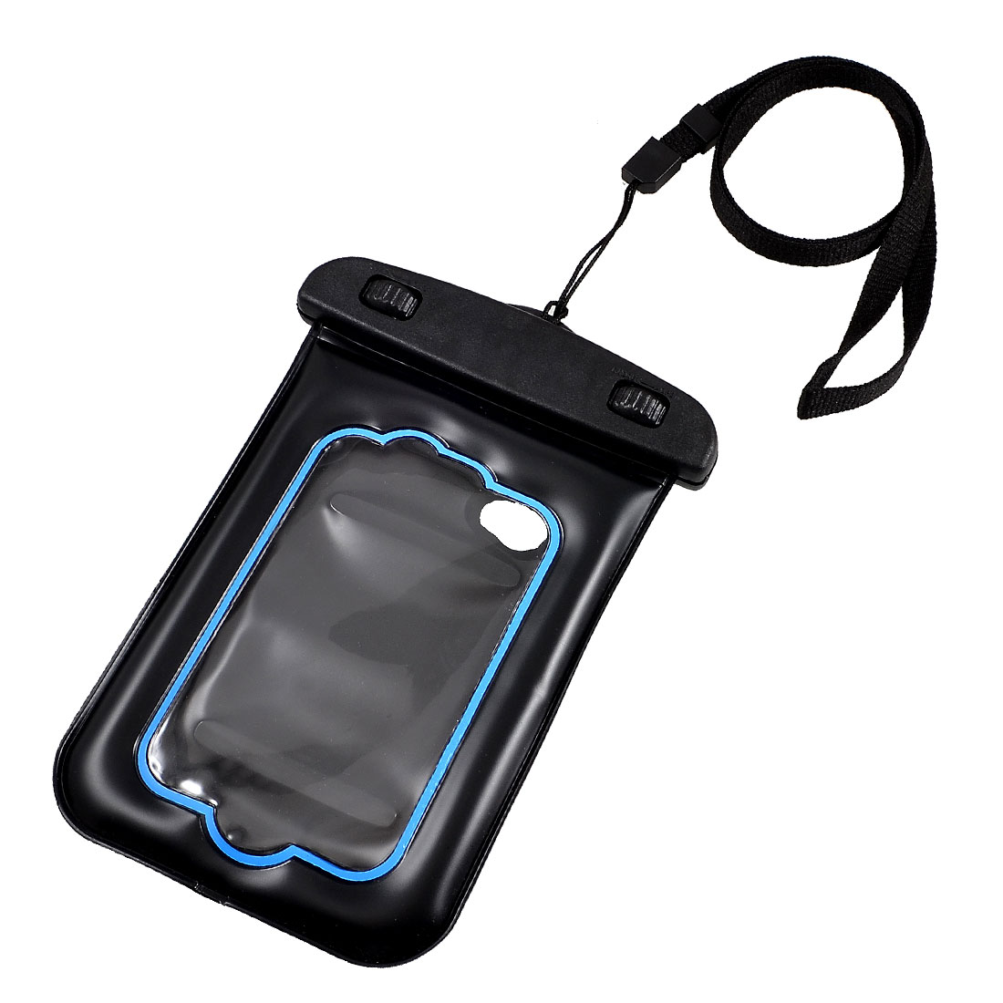 Black Plastic Water Resistant Bag Pouch + Neck Strap + Wrist Belt for Phone