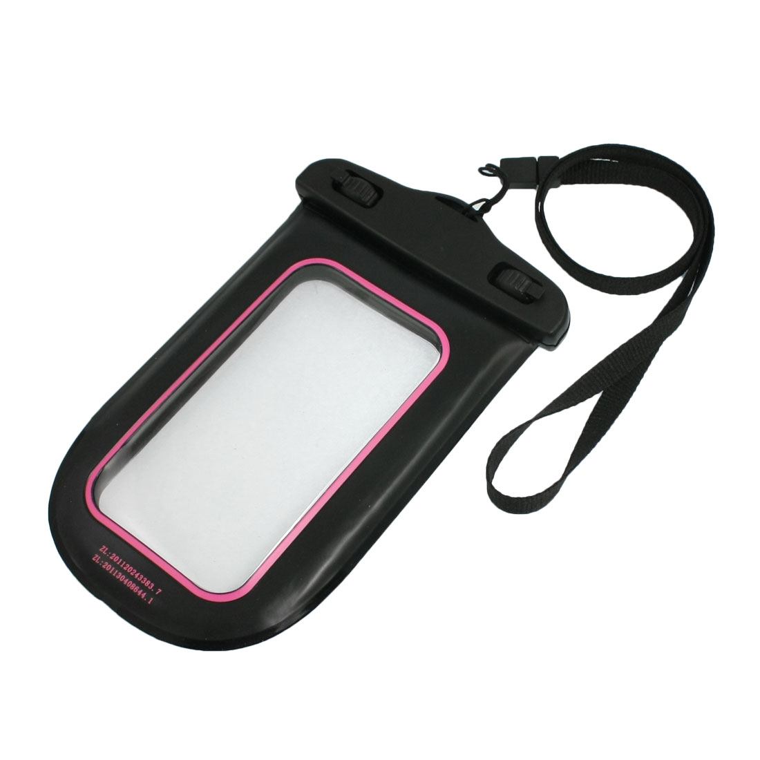 Black Plastic Water Resistant Bag Pouch w Neck Strap for Phone