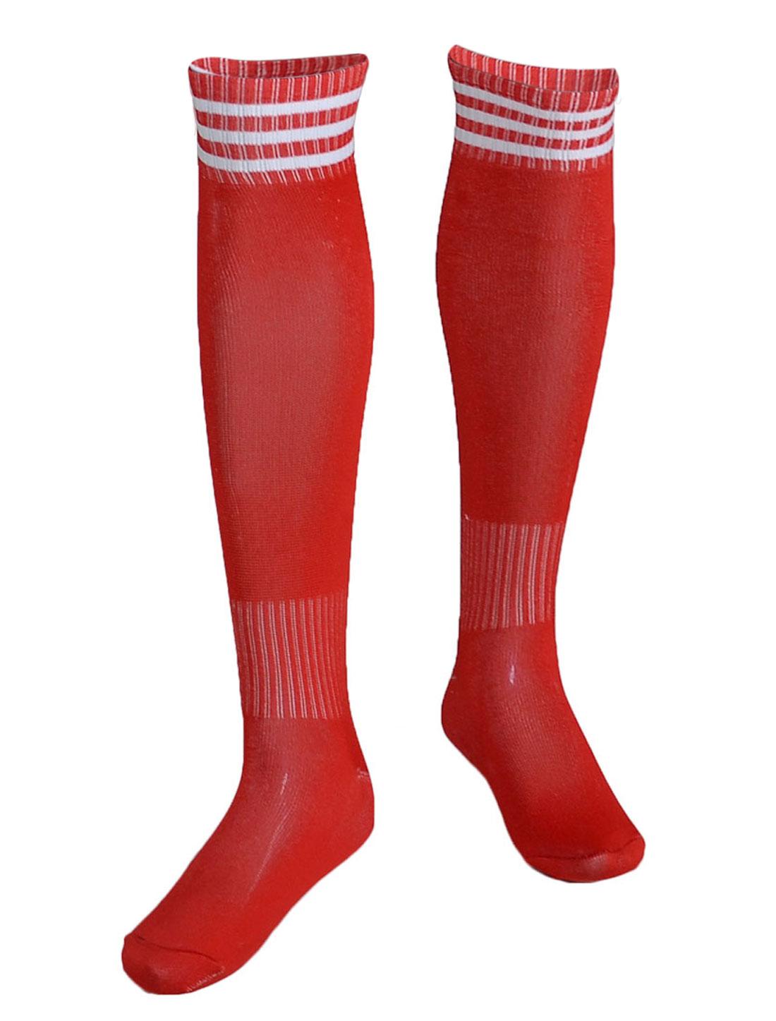 Boys Striped Knee High Soccer Hockey Football Socks Stockings Red Pair