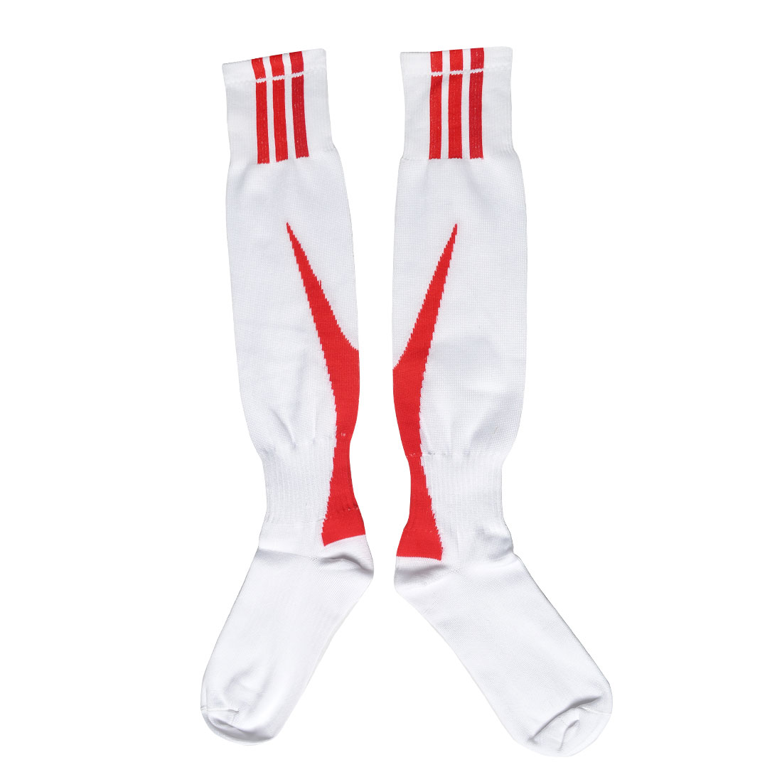 Boys Red Arrow Print Ribbed Stretch Sports Rugby Soccer Football Socks Pair