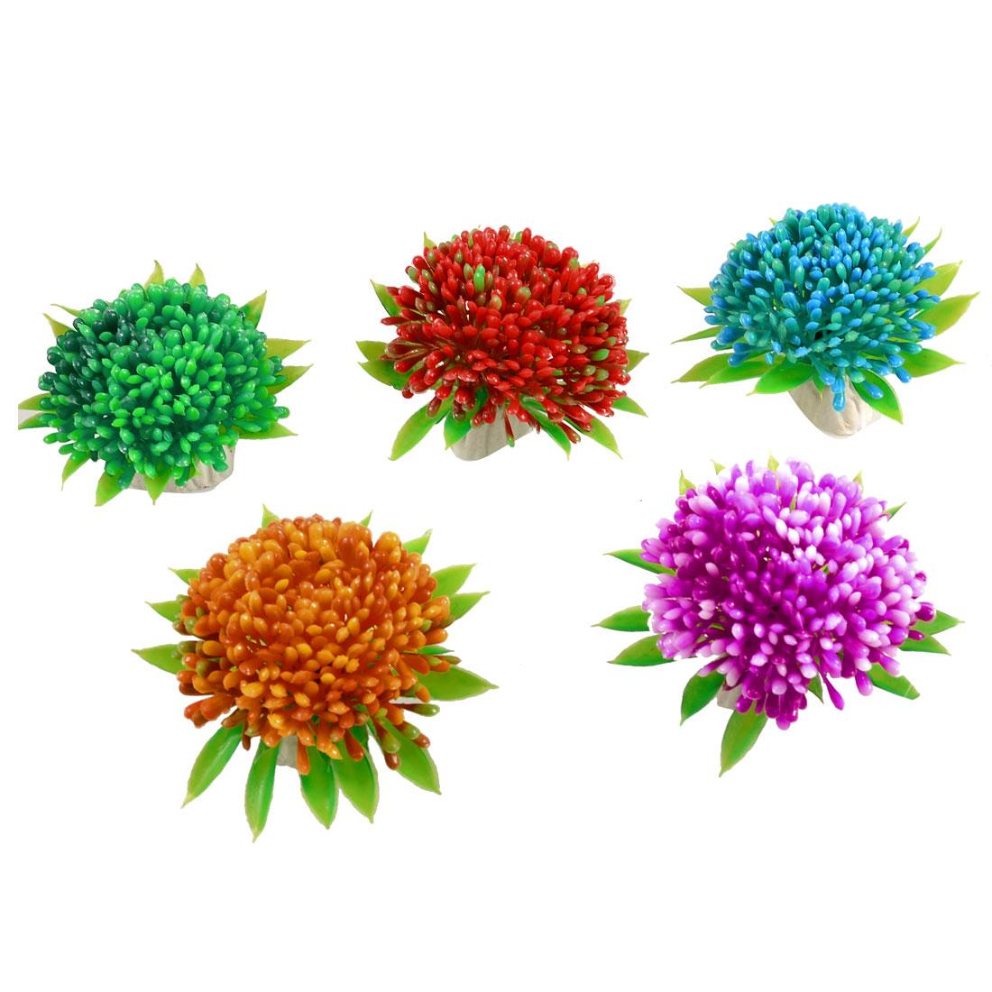 5 Pcs Assorted Colors Aquarium Plastic Plant Underwater Flower Decoration