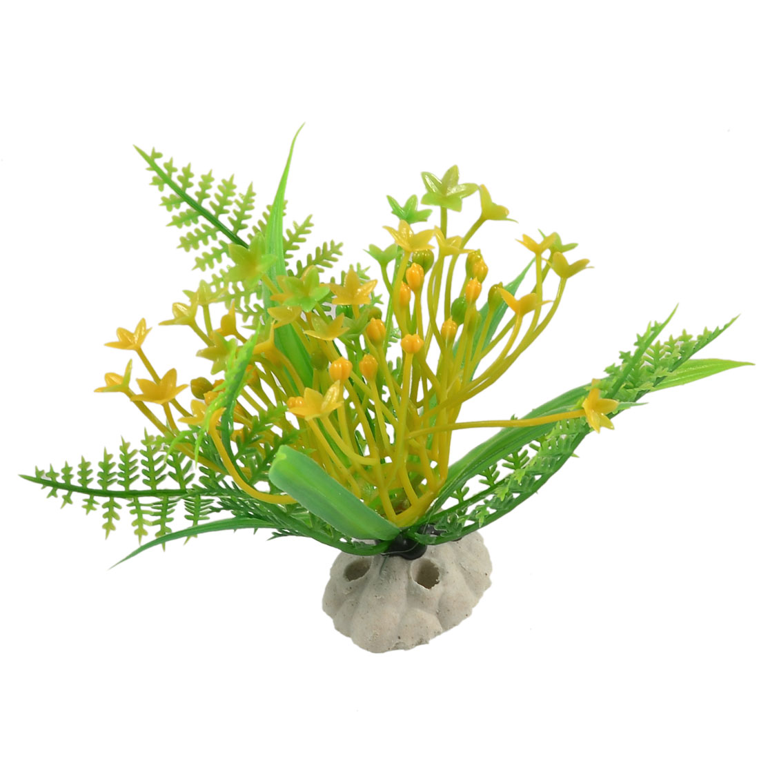 Yellow Flower Aquatic Plastic Plant Aquarium Ornament Aquascaping 3.6""