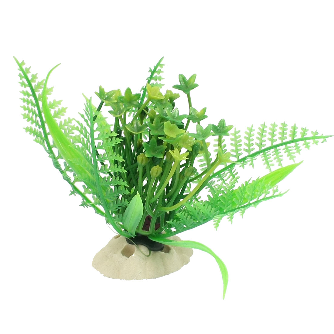 Ceramic Base Aquarium Plastic Plant Decoration Ornament Green 3.6""