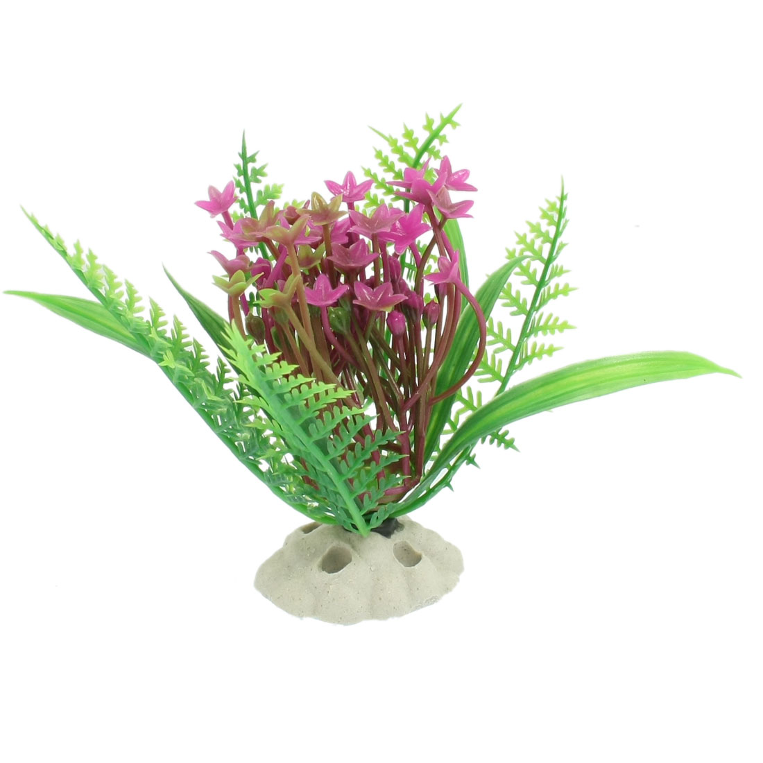 Ceramic Base Aquarium Plastic Plant Decoration Ornament Green Fuchsia 3.6""