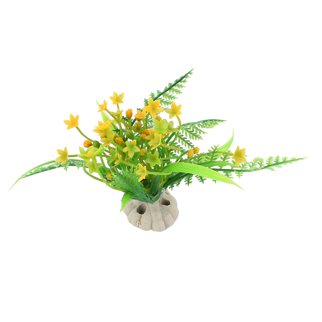 Yellow Flower Faux Aquatic Plastic Plant Aquarium Ornament Aquascaping 3.6""