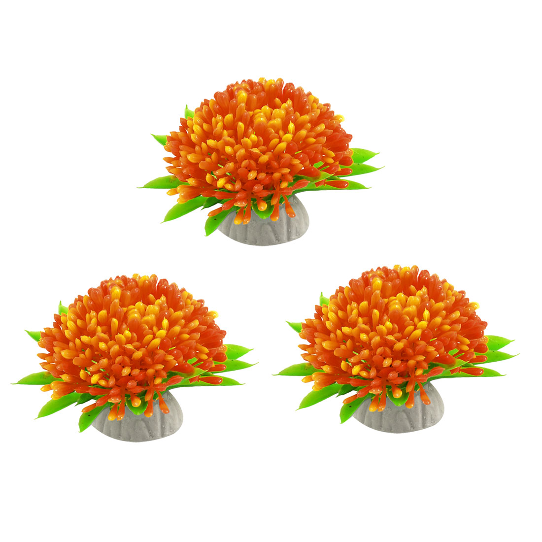 3 Pcs Green Leaves Orange Flower Aquarium Plastic Plants Decor Ornament 1.6""