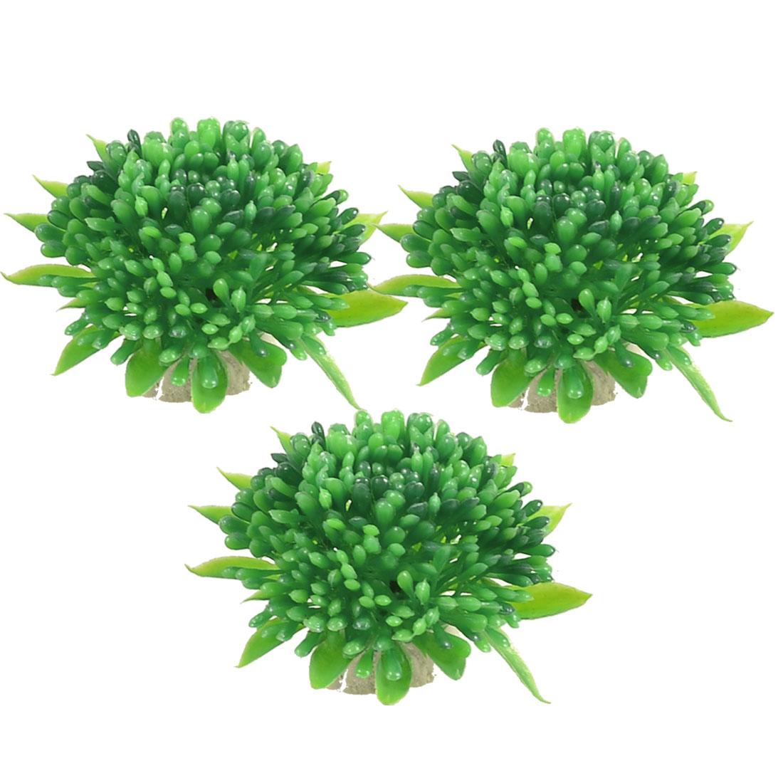 3 Pcs Green Lifelike Aquarium Plastic Plant Flower Decoration