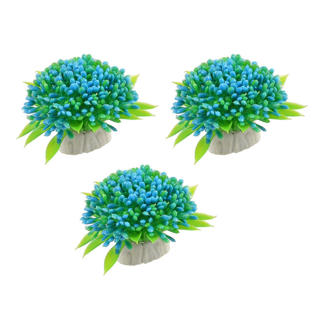 3 Pcs Green Blue Lifelike Aquarium Plastic Plant Flower Decoration