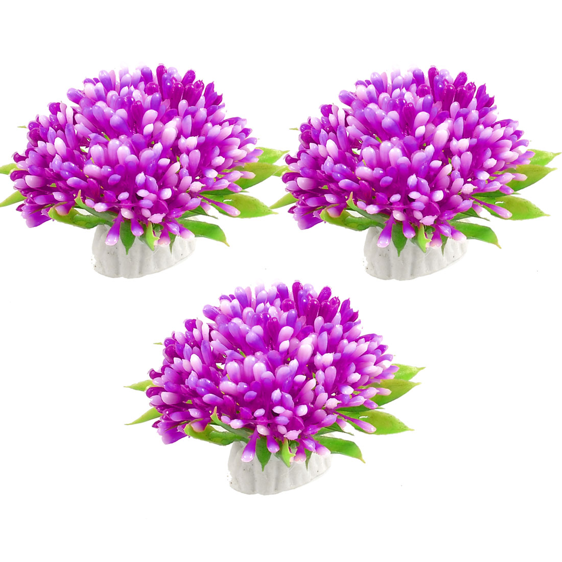 3 Pcs Green Leaves Purple Flower Aquarium Plastic Plants Ornament 1.6""
