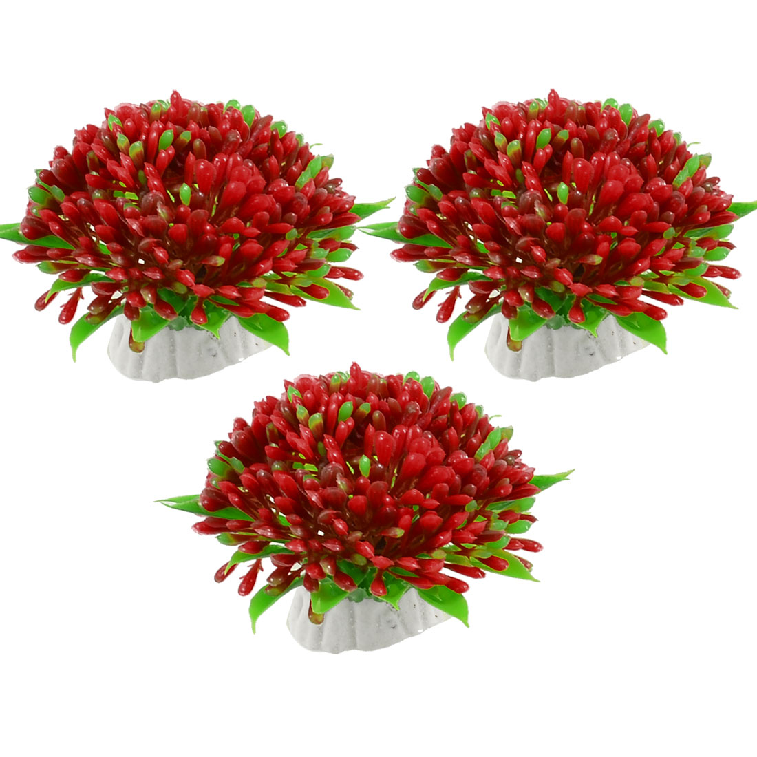 3 Pcs Green Red Lifelike Aquarium Plastic Plant Flower Ornament Decoration