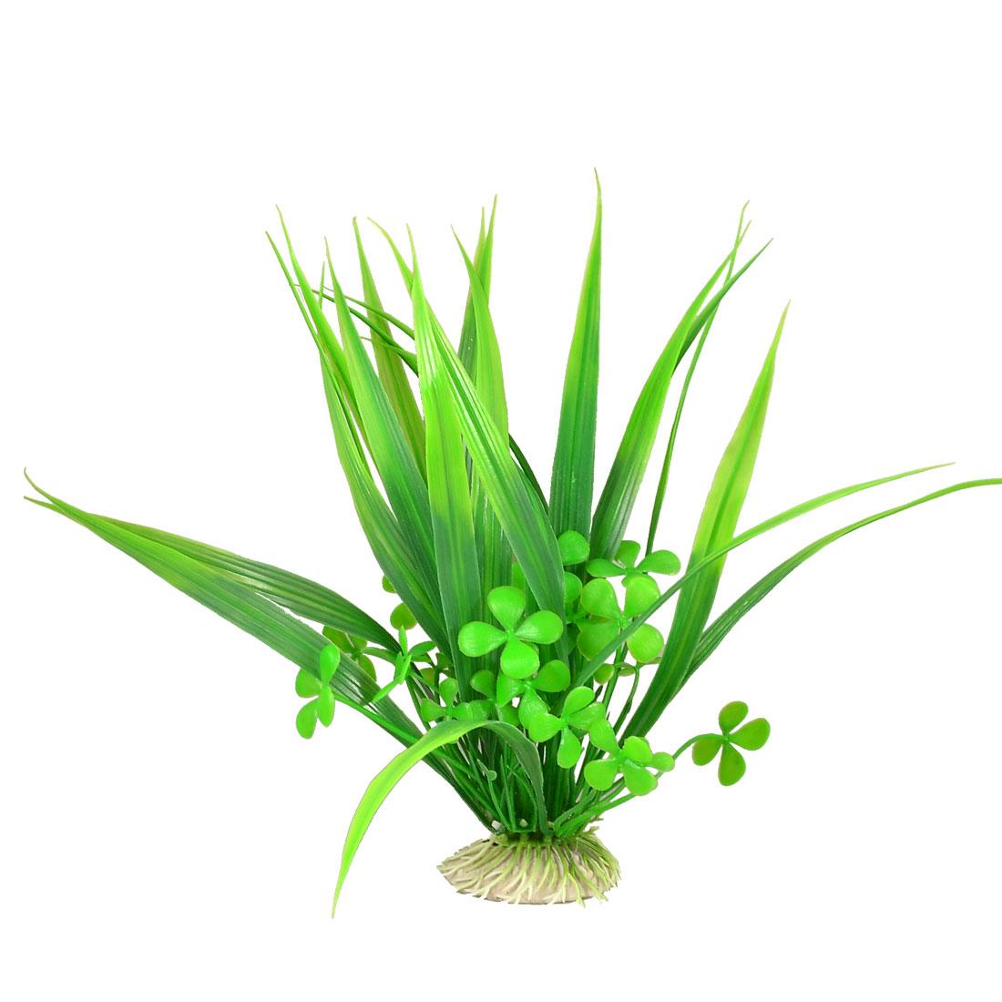 """Clover Shape Flower Aquarium Plastic Plant Decoration Ornament Green 8.7"""""""
