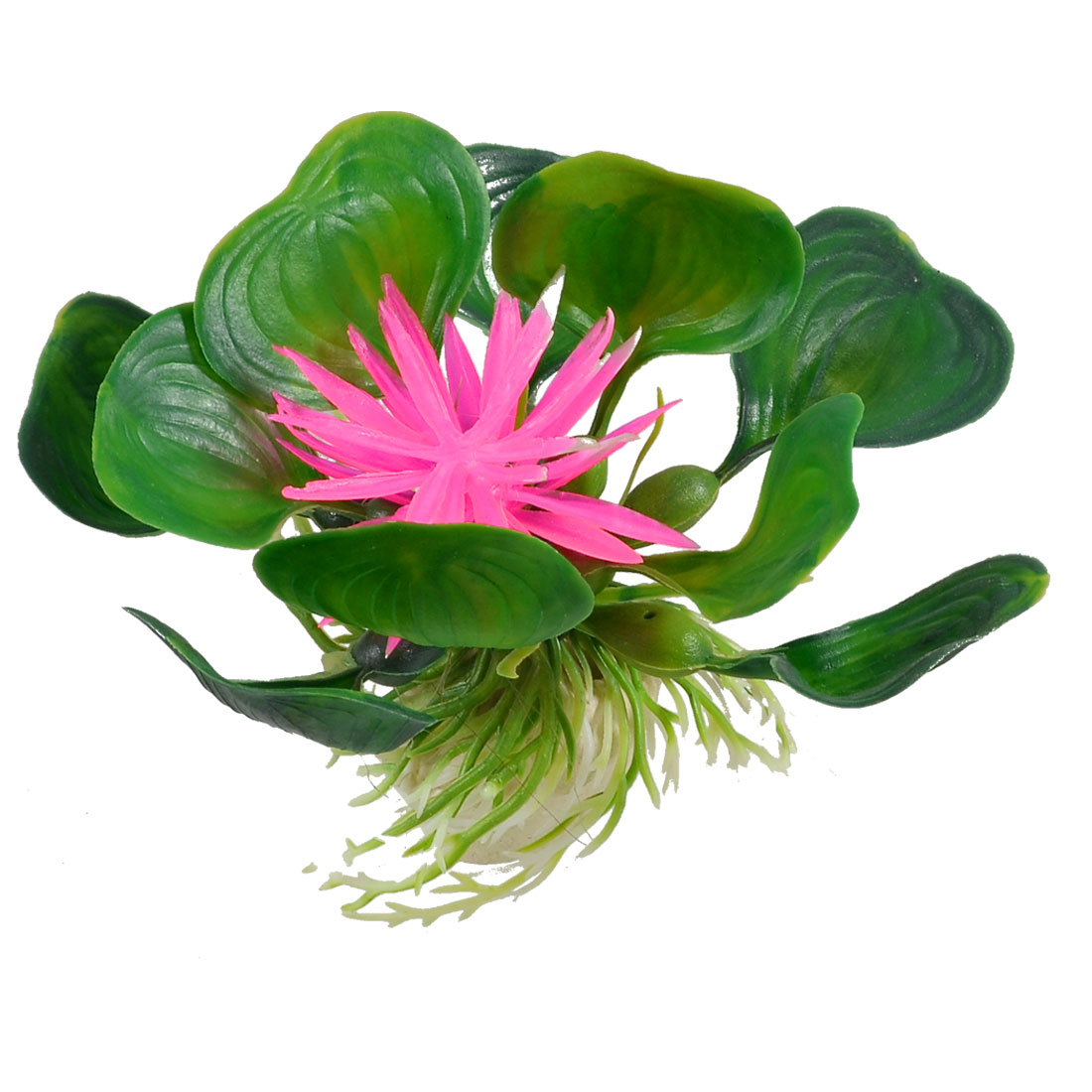 Oval Ceramic Base Aquarium Plastic Plant Ornament Decoration Green Pink