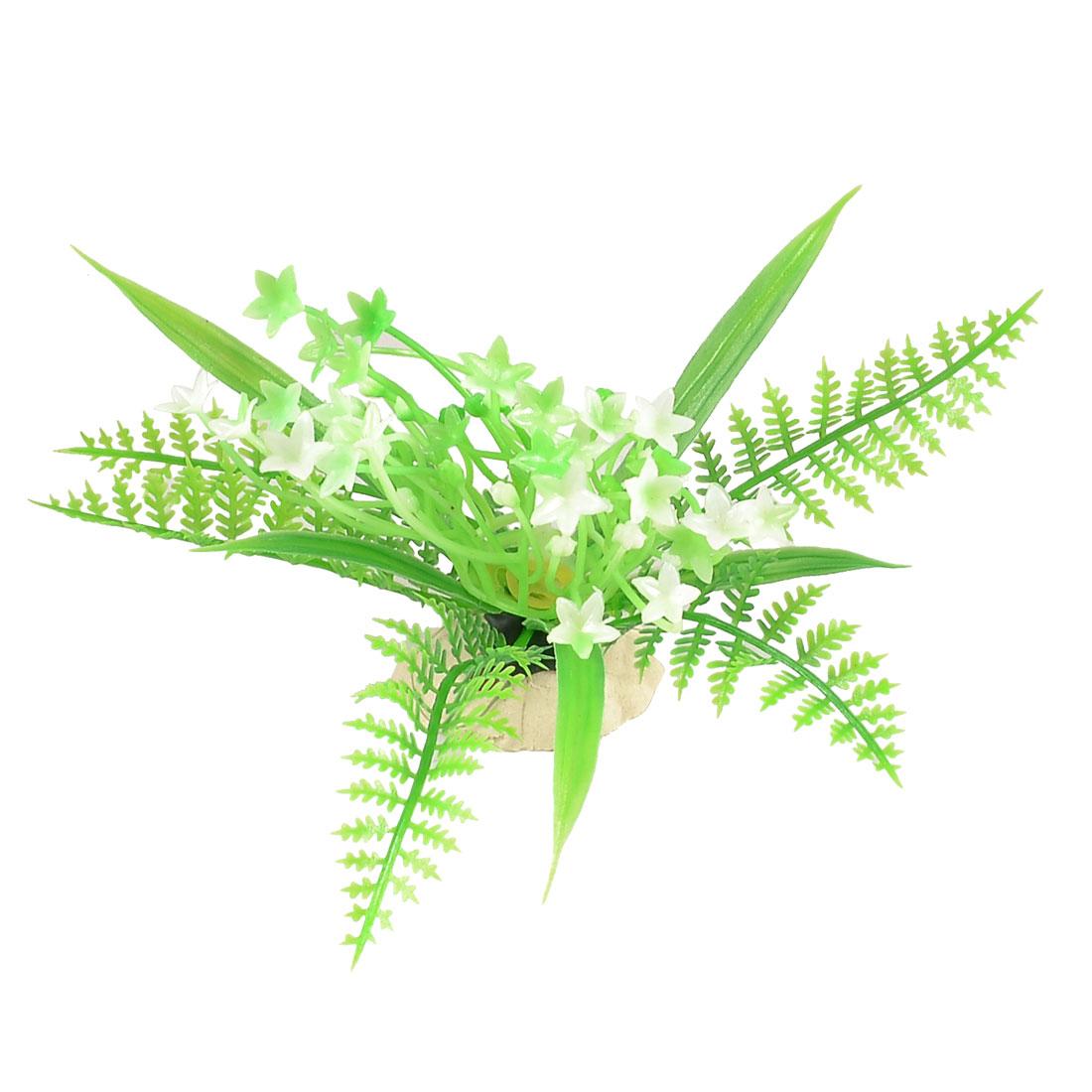 Plastic Plant Flower Aquarium Aquascaping Fish Tank Ornament Green White