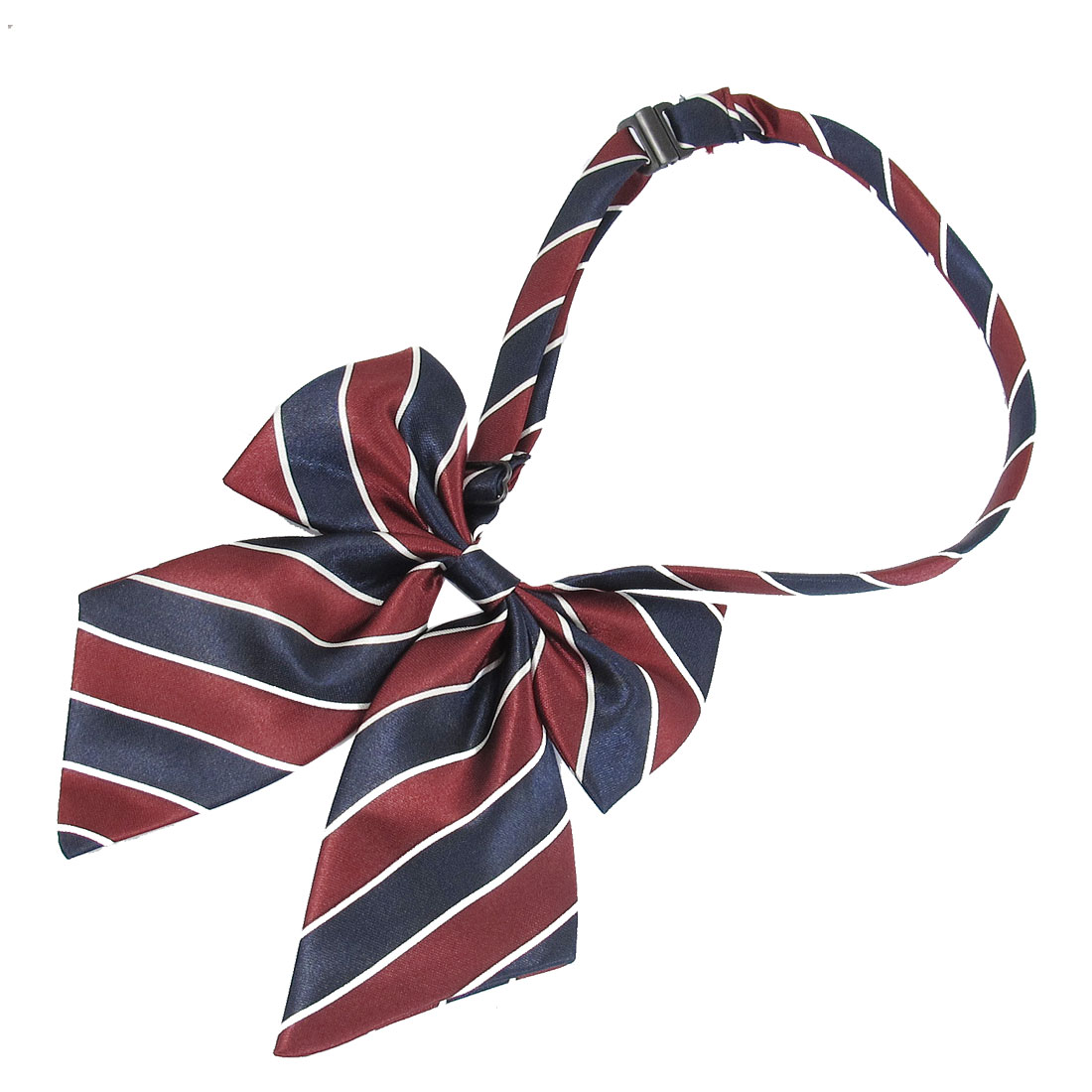 Brick Red Blue Stripes Pattern Adjustable Pre-tie Bowtie for Ladies