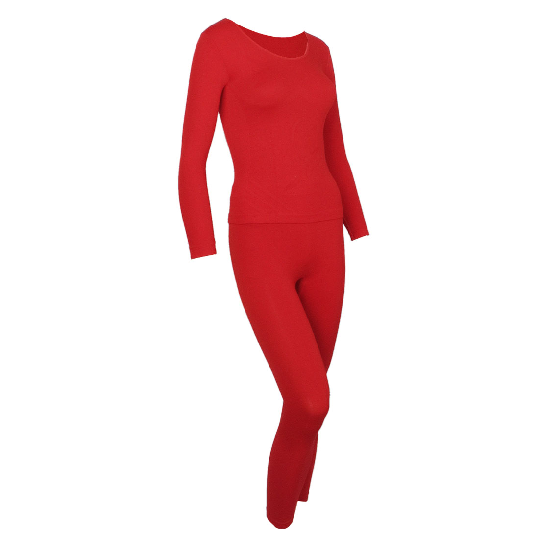 Red Scoop Neck Closefitting Elastic Thermal Underwear Suits for Women XS