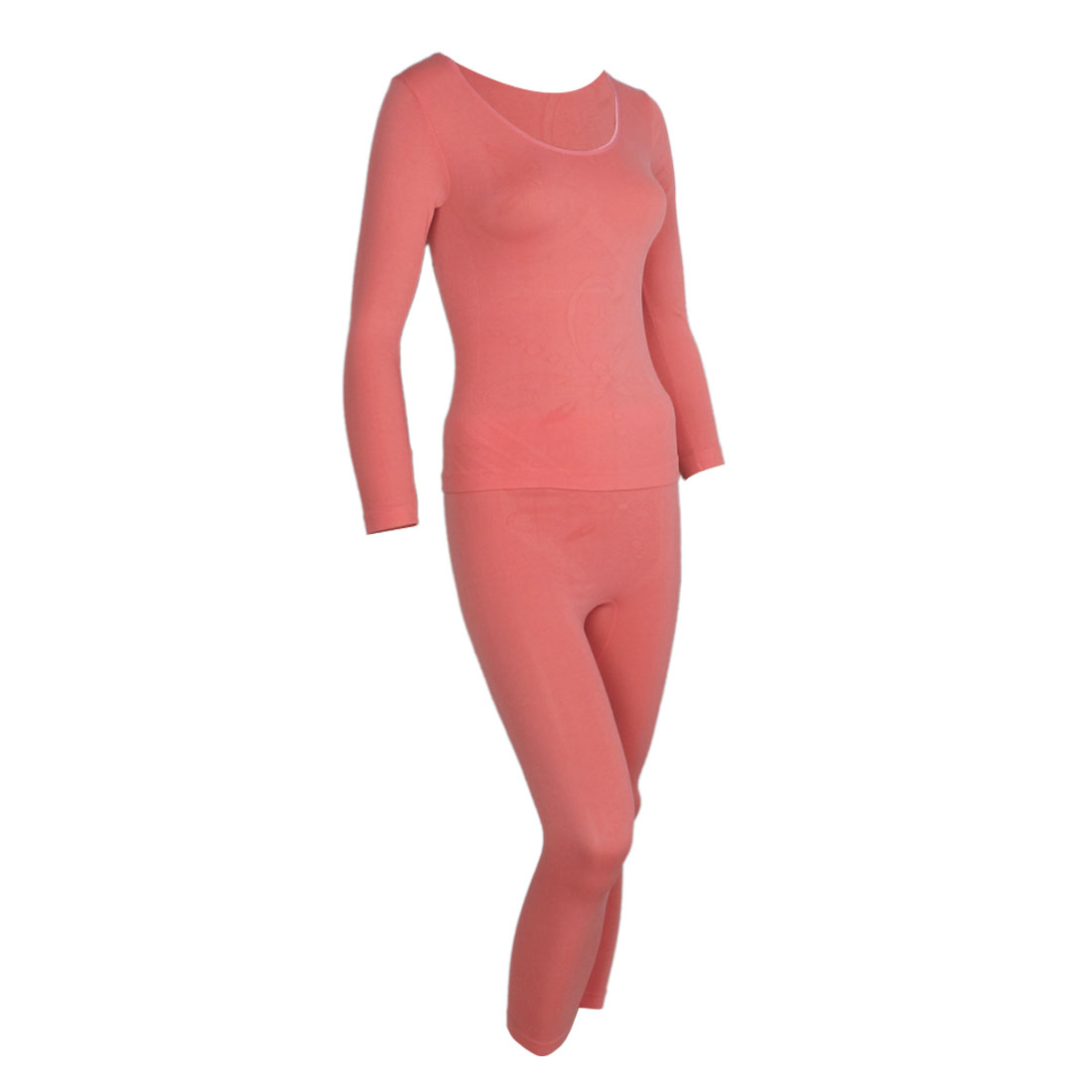 Watermelon Red Scoop Neck Stretchy Thermal Underwear Suits for Women XS