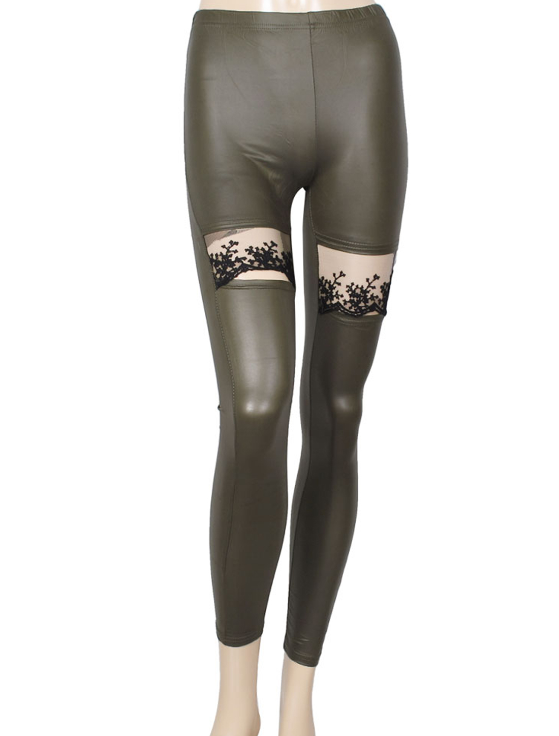 Dark Green Lace Detail Hollow Out Design Close-fitting Leggings for Ladies XS