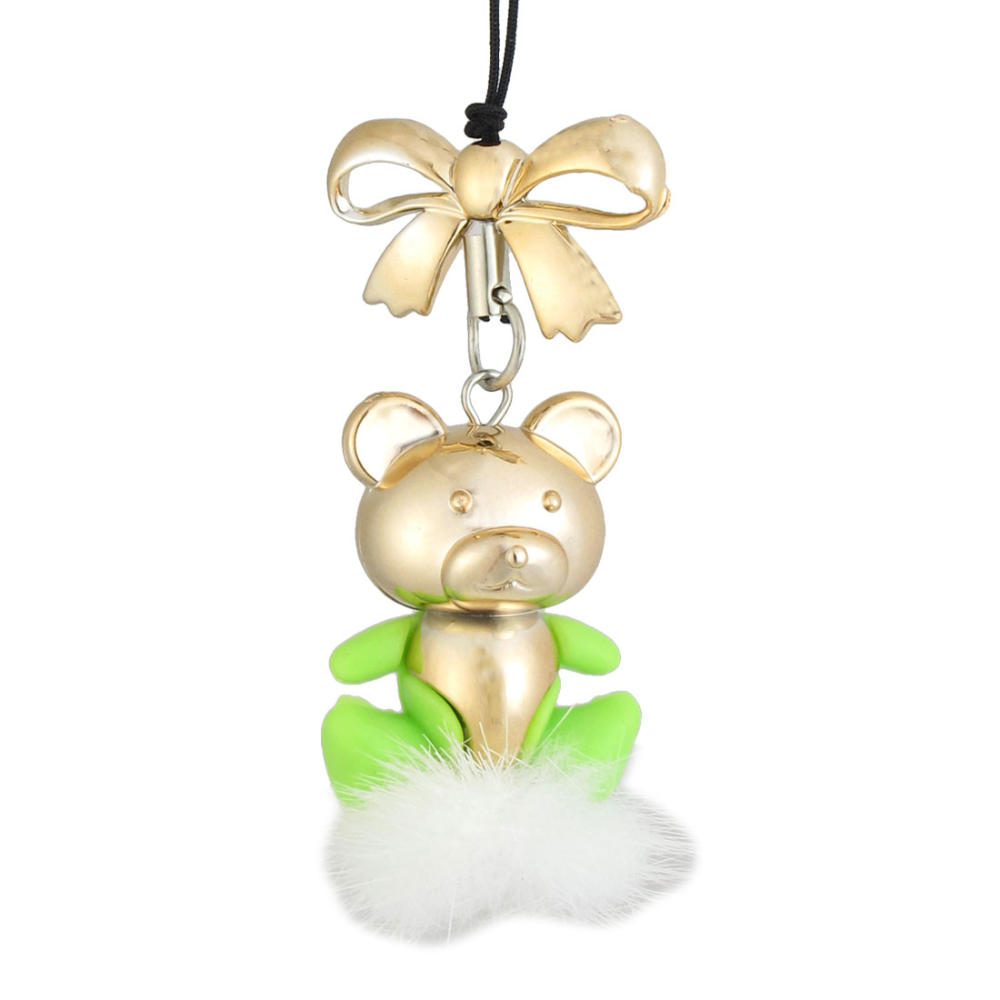 Green Gold Tone Cartoon Bear Pendant Strap for Cellphone MP3 MP4