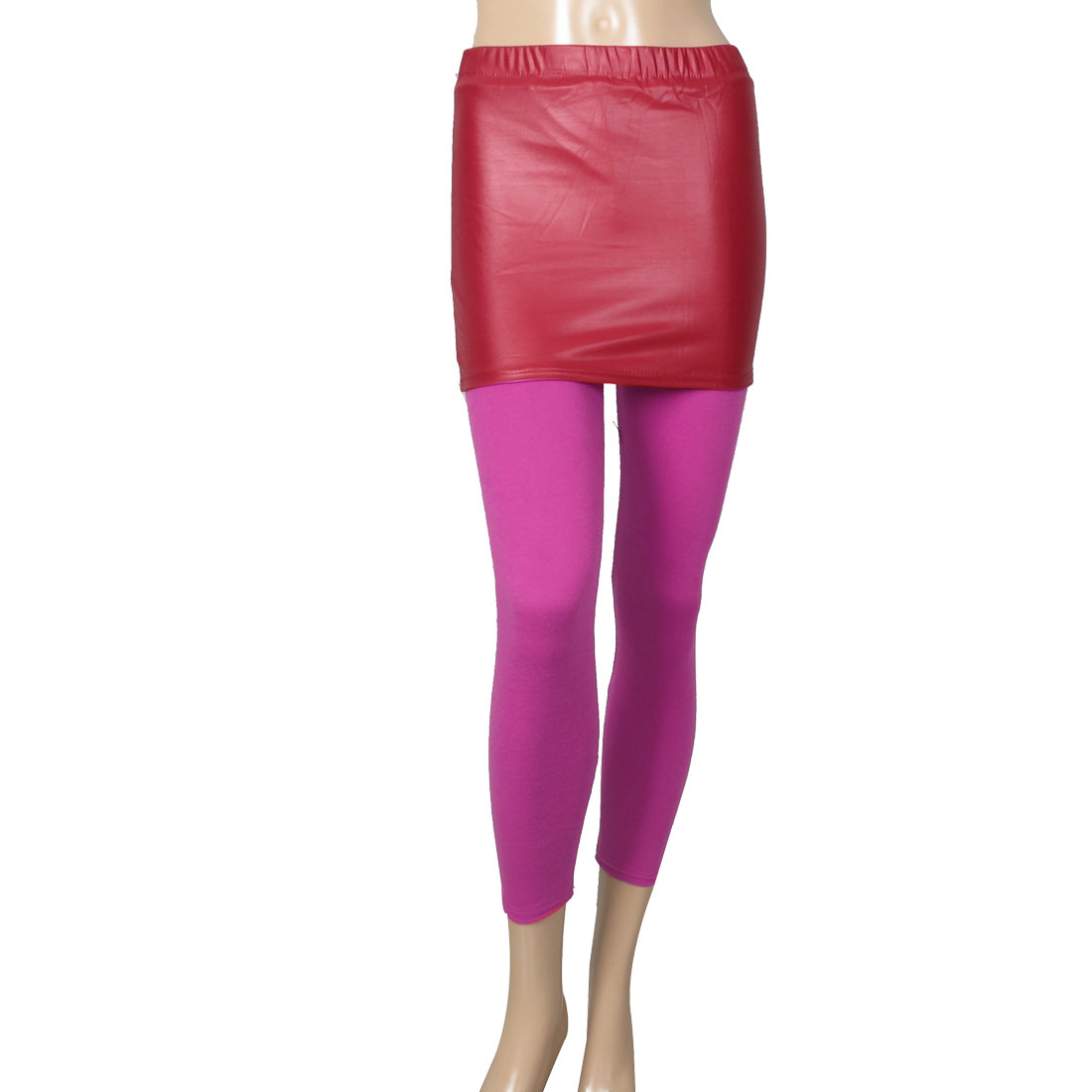 Fuchsia Faux Leather Detail Skinny Pantskirt Leggings for Women XS