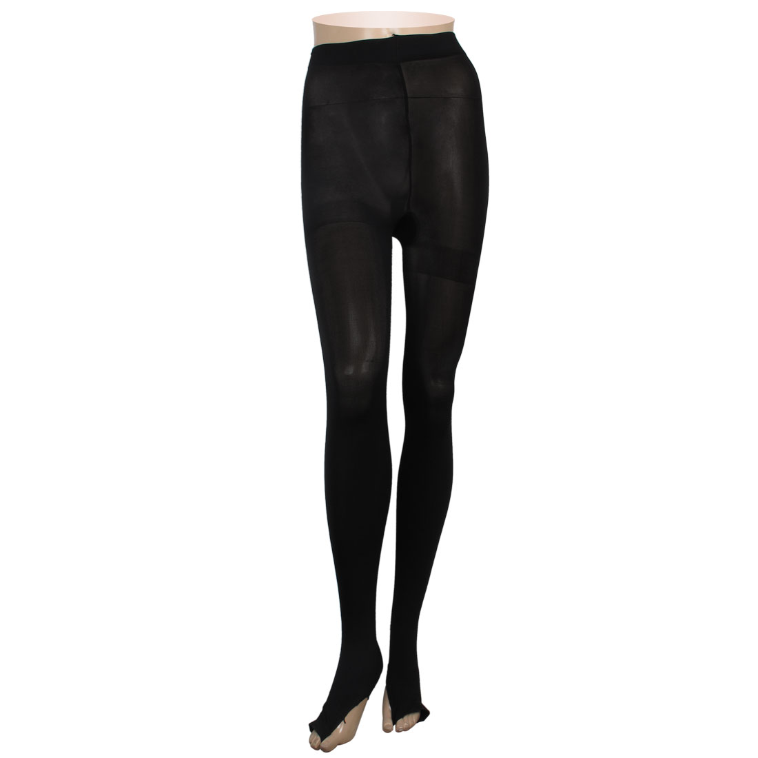 Black Tightfitting Stretchy Stirrup Leggings Tights for Ladies XS
