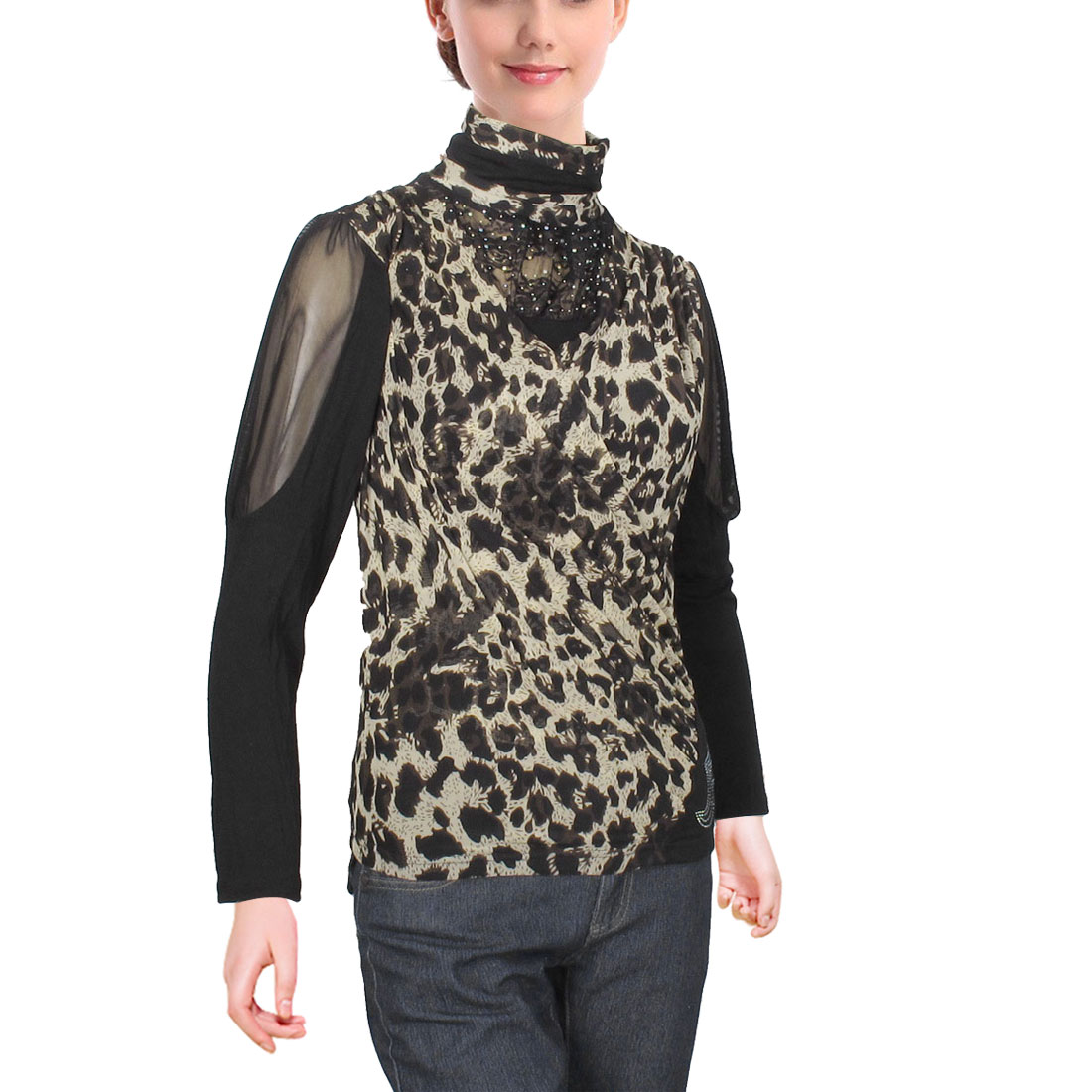 Leopard Pattern Rhinestone Detail Pullover Shirt Tops Black for Ladies XS