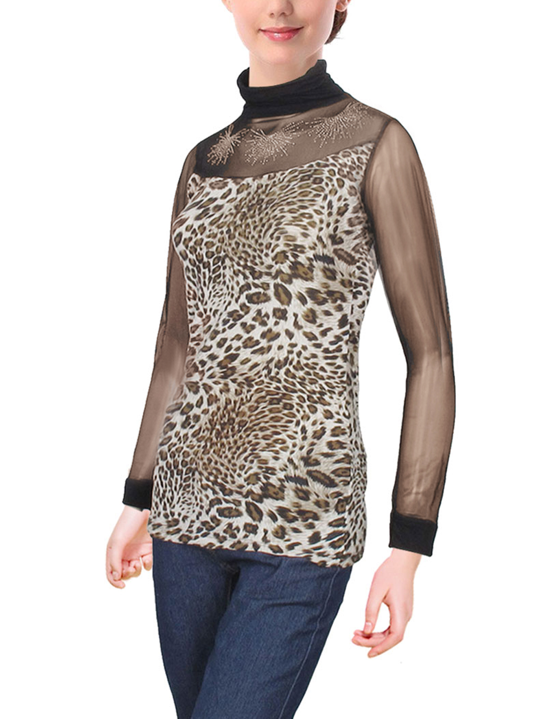 Black Leopard Pattern Long Sleeve Turtle Neck Shirt Tops for Ladies XS