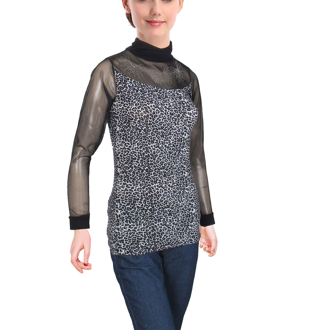 Black See Through Turtle Neck Long Sleeve Shirt Tops for Ladies XS