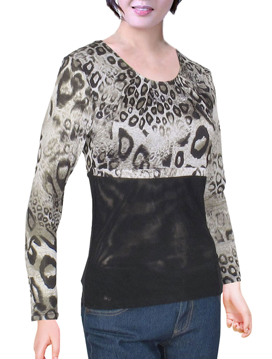 Beige Leopard Pattern Scoop Neck Long Sleeve Shirt Tops for Ladies XS