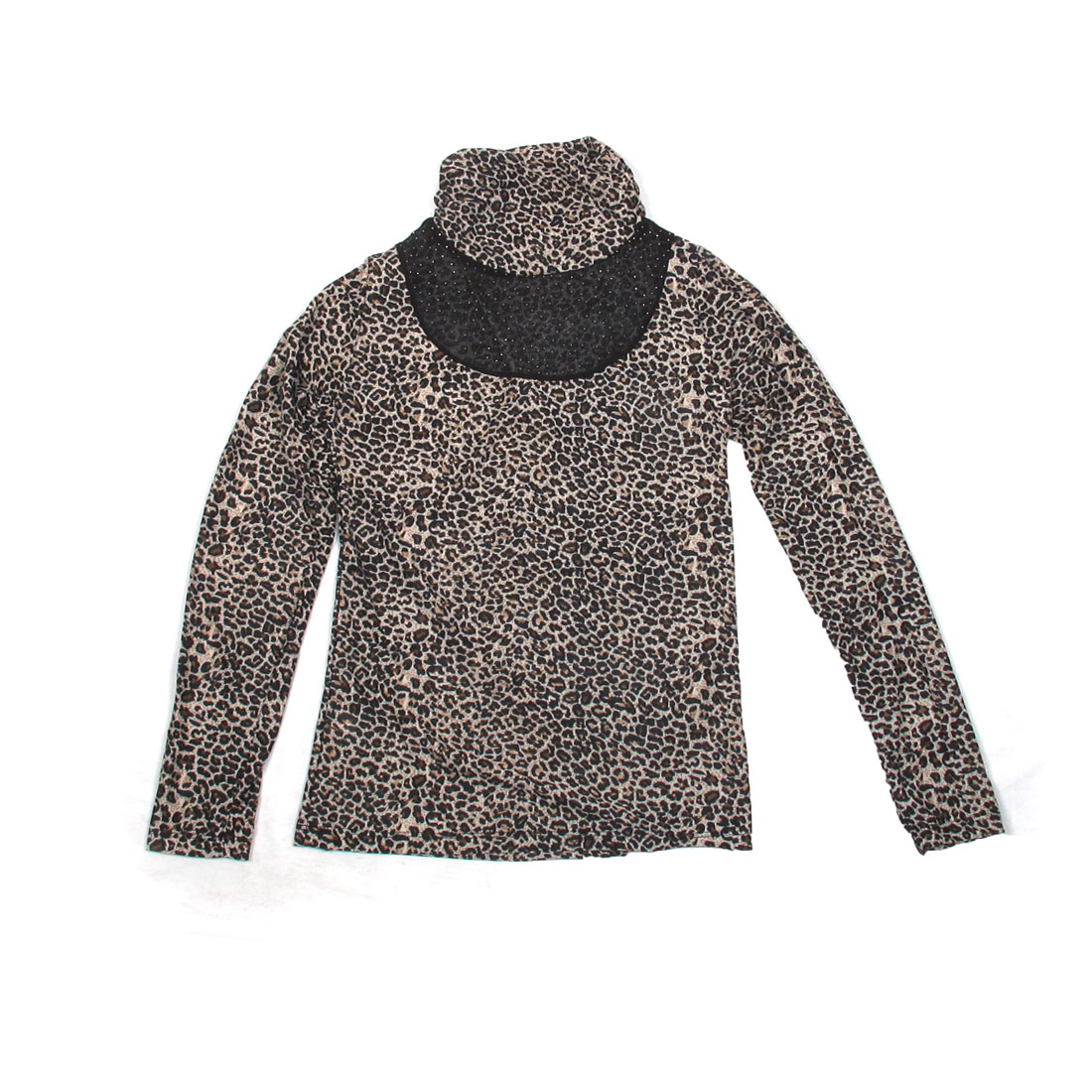 Beige Leopard Printed Rivets Decor Ruffled Collar Autumn Spring Shirt Tops for Ladies XS