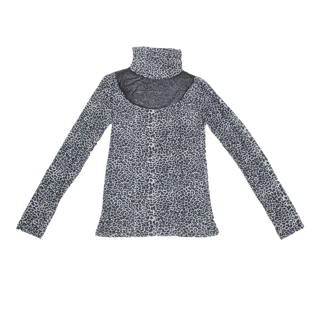 Ladies Dark Blue Ruffled Collar Rivet Detail Leopard Pattern Stretchy Shirt Tops XS