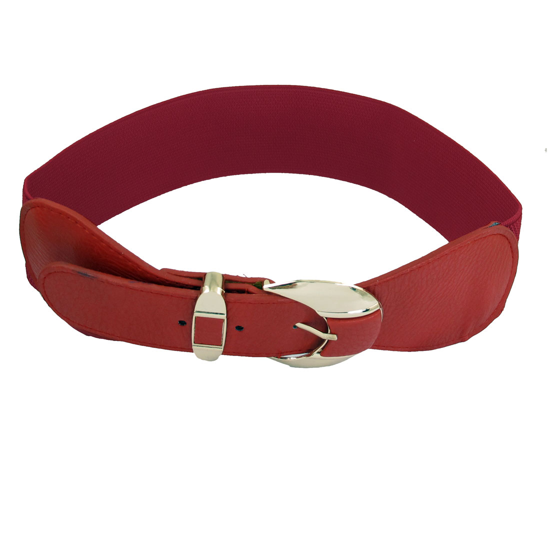 "Red Faux Leather Elastic Band 2.4"" Width Single Pin Buckle Women Waist Belt"