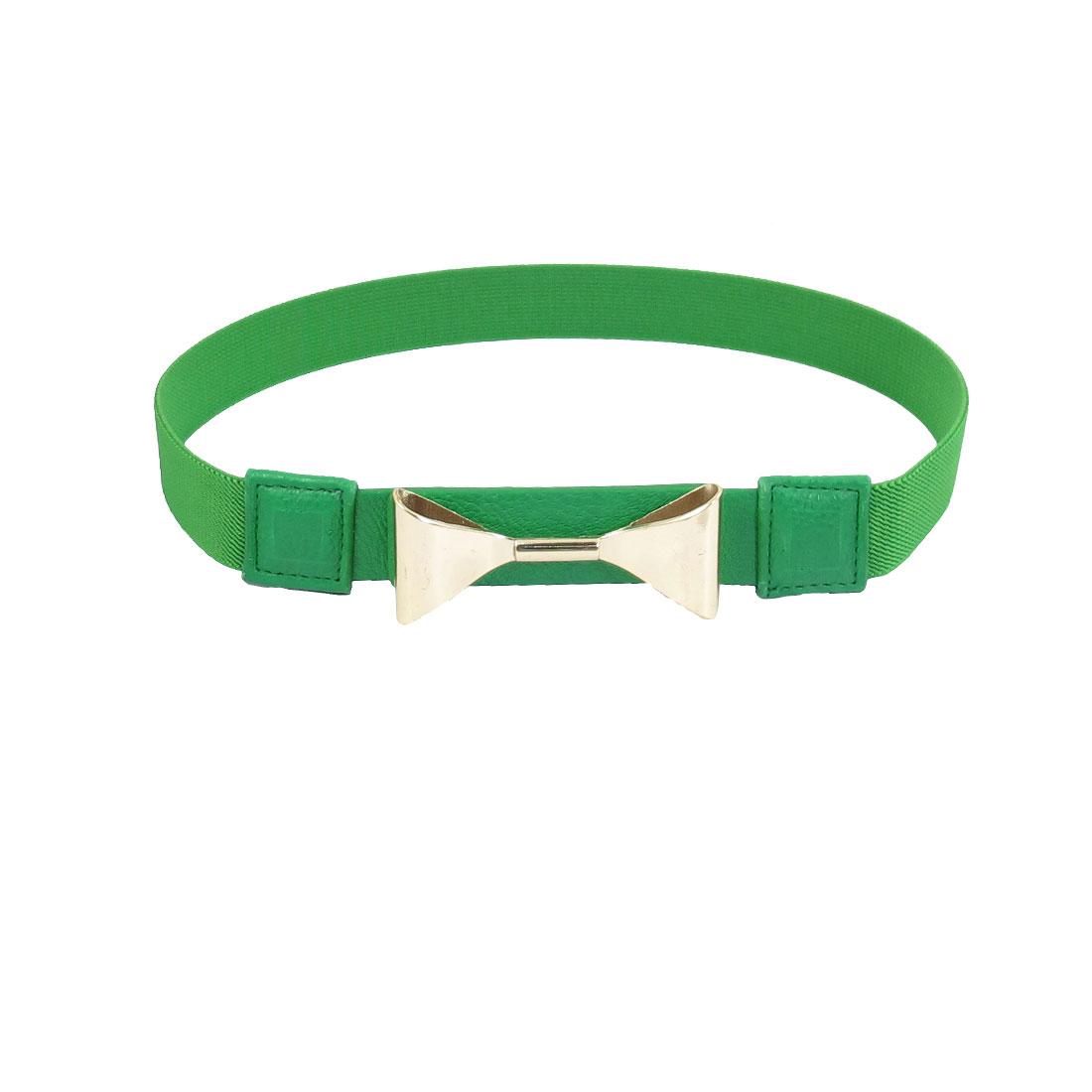 "Green Faux Leather 1"" Width Elastic Band Interlocking Buckle Women Waist Belt"
