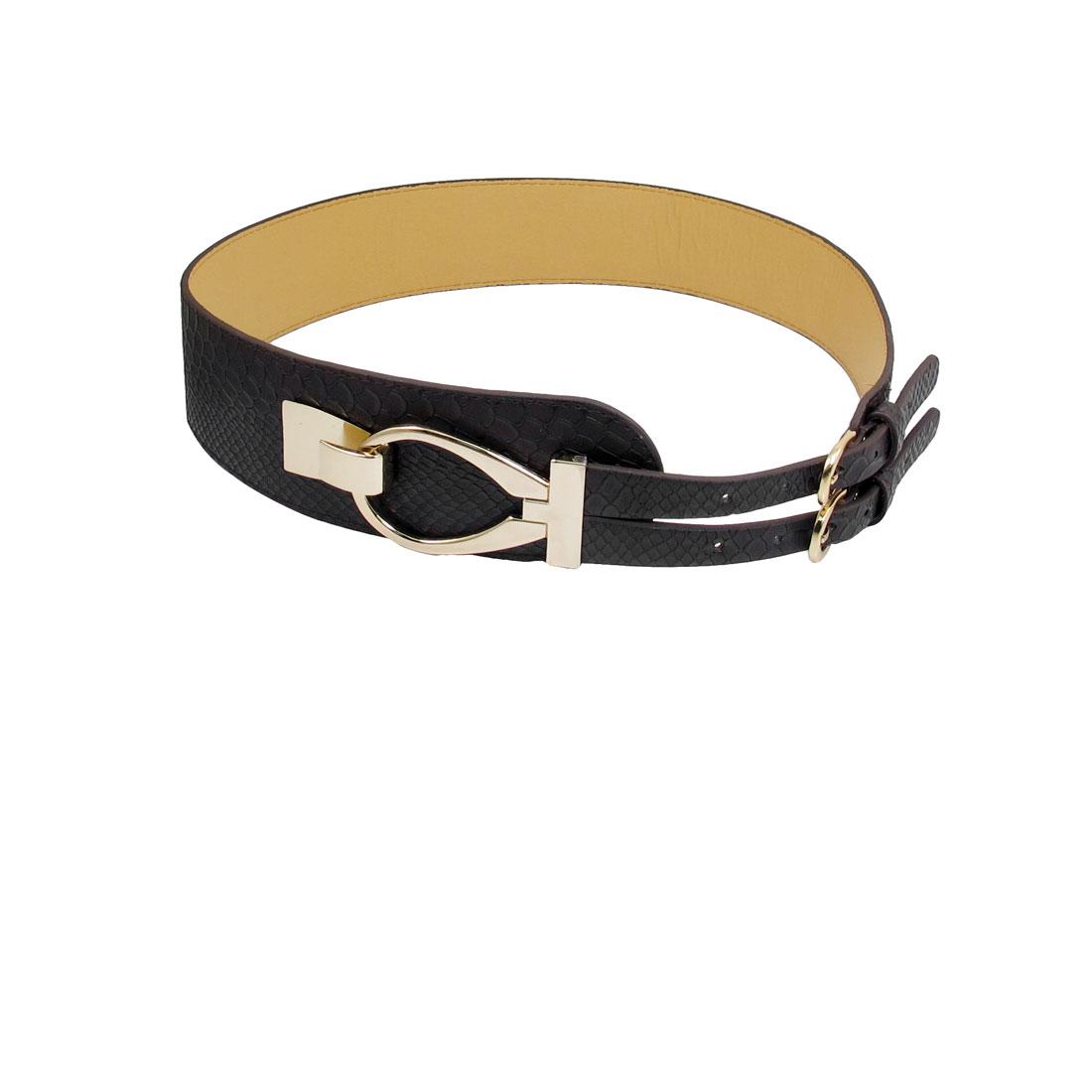 """Coffee Faux Leather Snakeskin Pattern 2.4"""" Width Interlocking Buckle Women Waist Belt"""