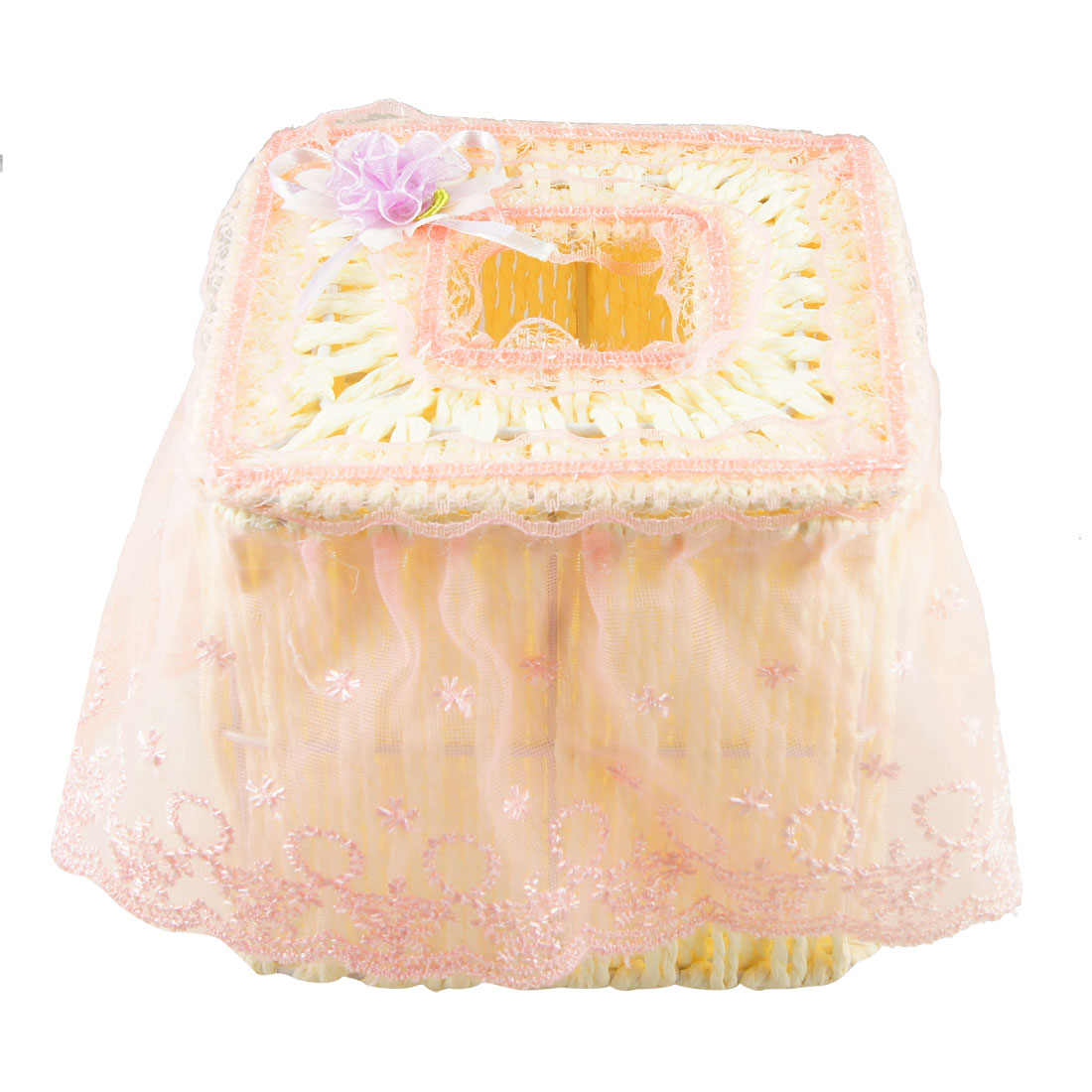 Light Purple Organza Flower Detail Beige Square Tissue Box Case
