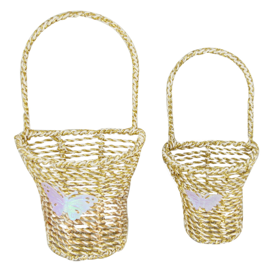 2 Pcs Gold Tone White Twisted Tinfoil Paper Desk Decor Flower Basket Holder