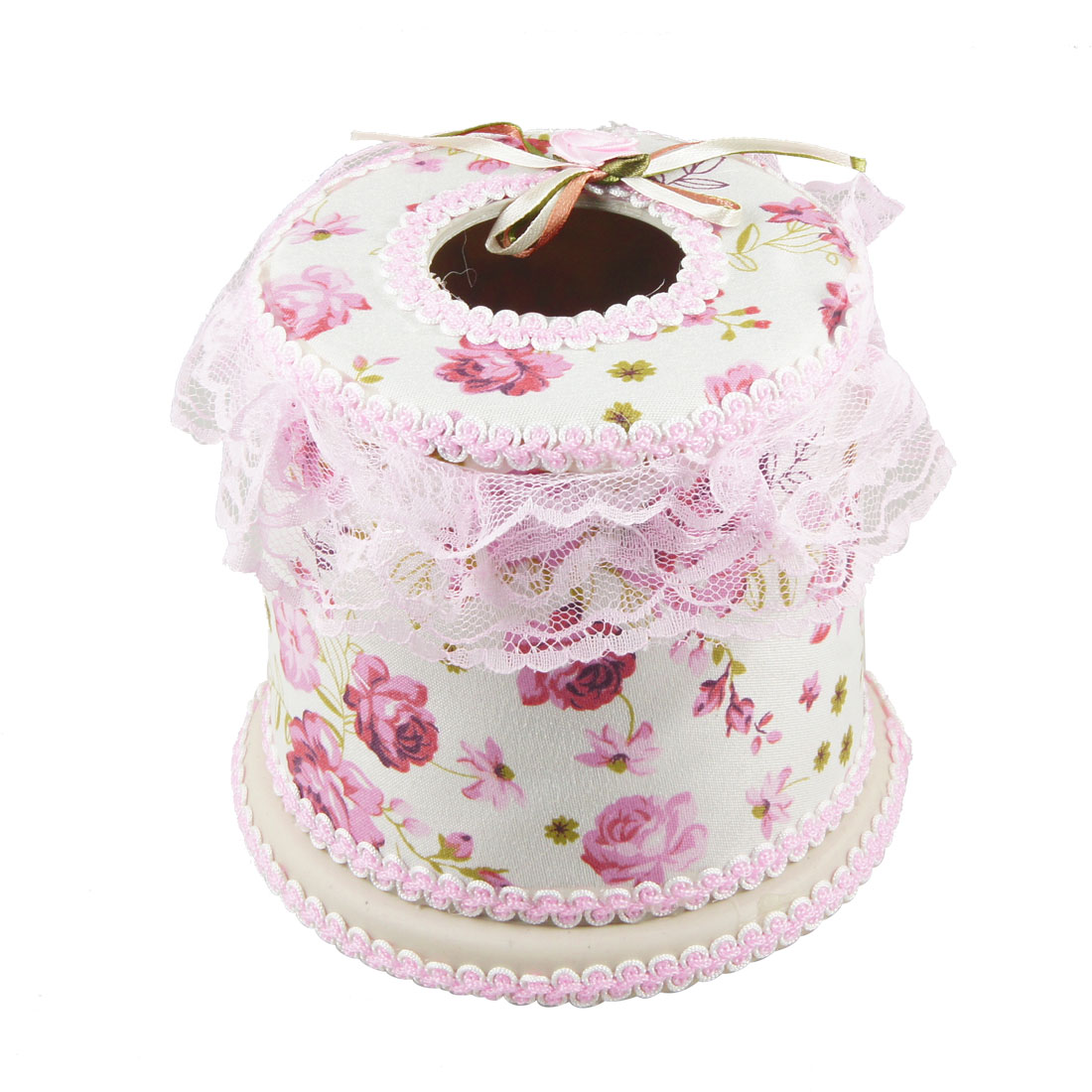 Dark Pink Flower Pattern White Fabric Coated Round Tissue Box Container