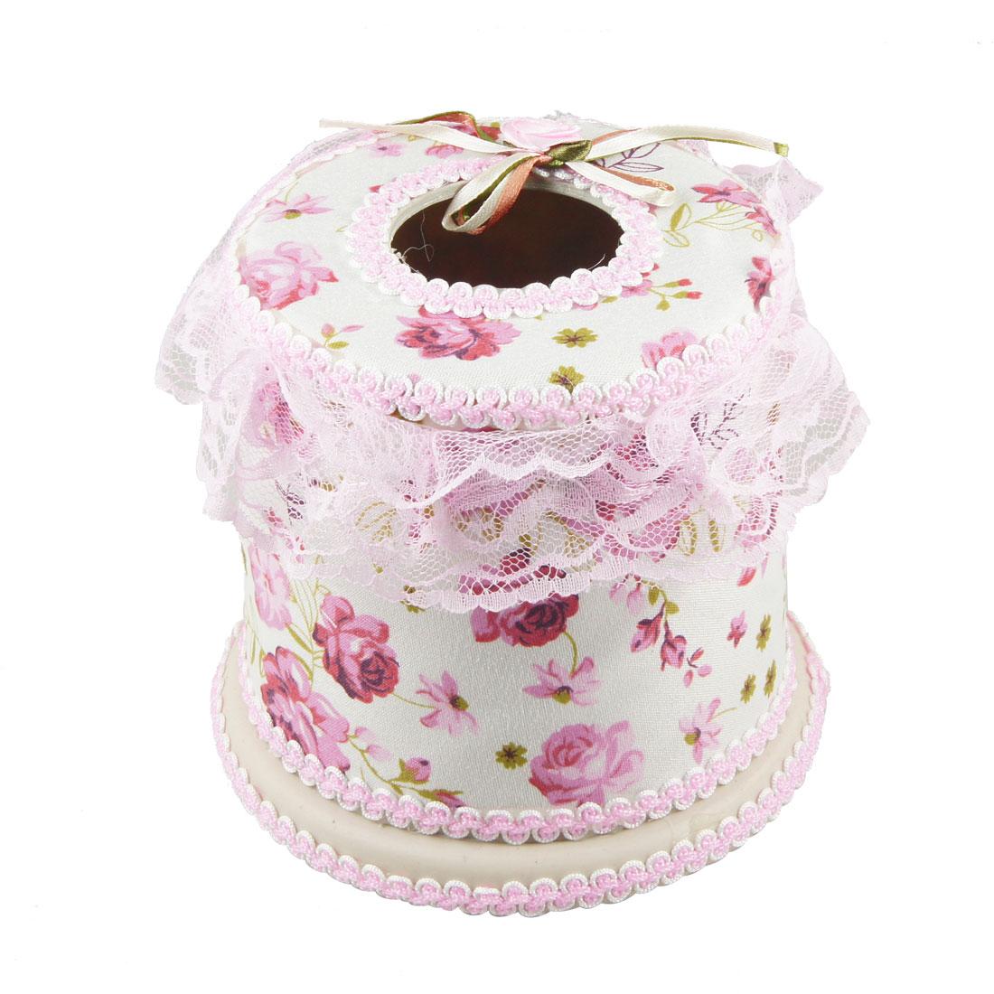 Dark Pink Flower Pattern White Fabric Coated Round Tissue Box Container