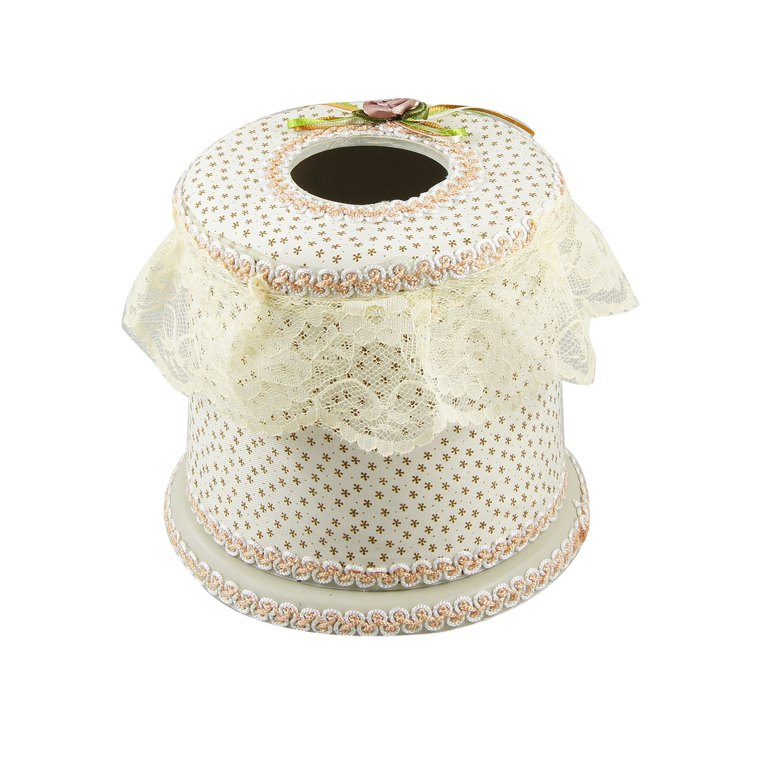Brown Floral Pattern Beige Fabric Coated Plastic Tissue Box Container