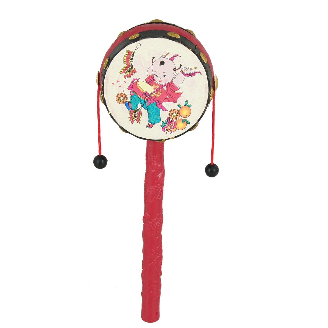 Toddlers Red Plastic Hand Shake Music Instrument Toy Rattle Drum